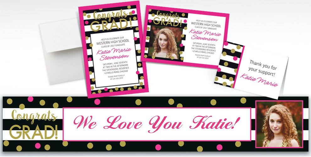 Custom Confetti Graduation Invitations, Thank You Notes and Banners