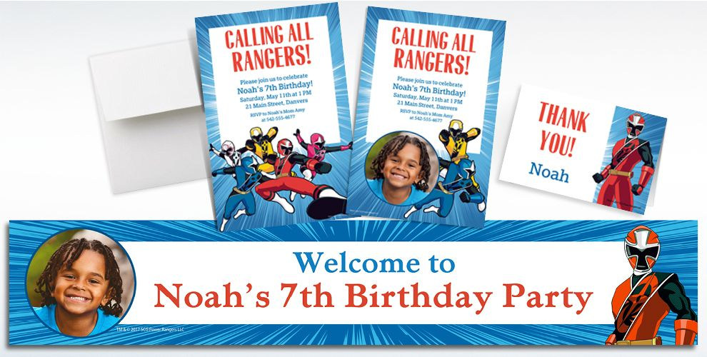 Custom Power Rangers Ninja Steel Invitations, Thank You Notes and Banners