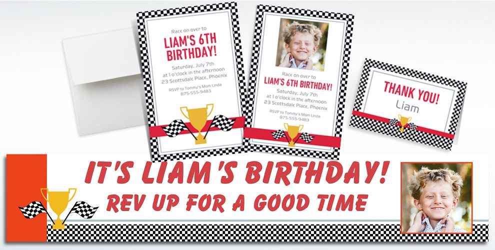 Custom Race Car Invitations, Thank You Notes and Banners