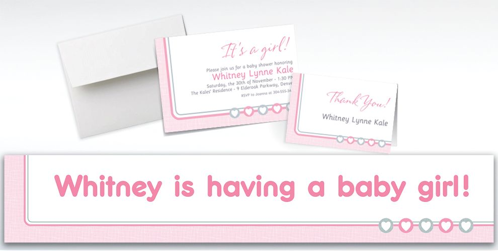 Custom Gray and Pink Hearts Invitations, Thank You Notes and Banners