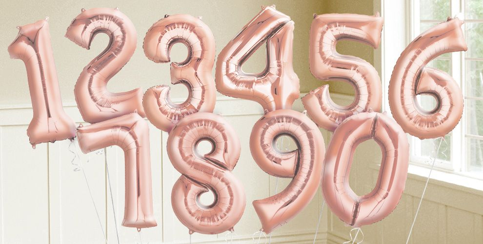 Giant Rose Gold Number Balloons