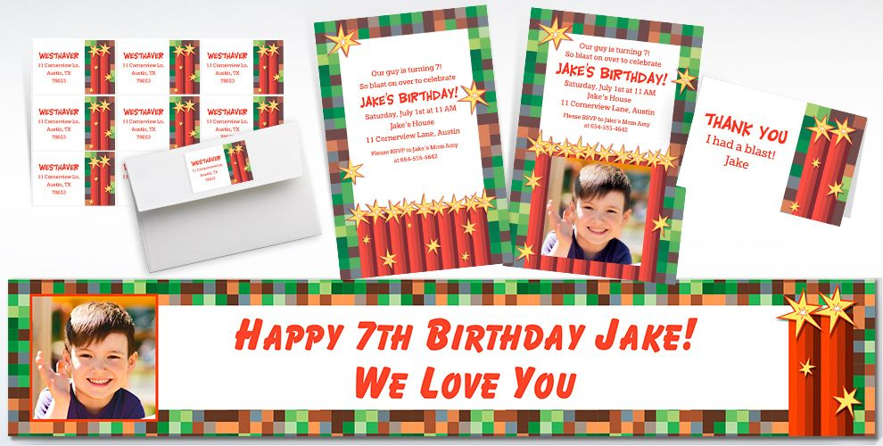 Custom Pixelated Invitations, Thank You Notes and Banners