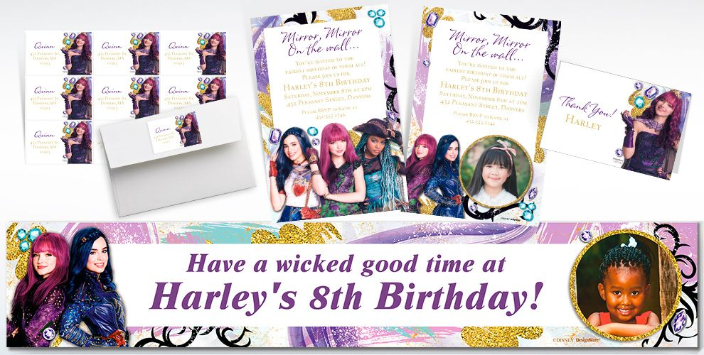 Custom Descendants 2 Invitations, Thank You Notes and Banners