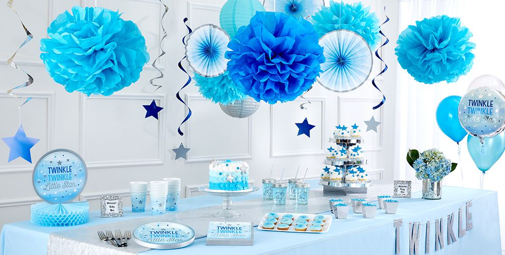 Blue Twinkle Twinkle Little Star Baby Shower Party Supplies