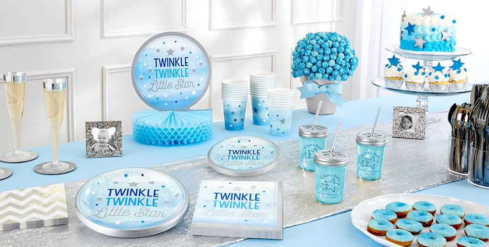 Patterned Tableware 50% off MSRP — Blue Twinkle Twinkle Little Star Baby Shower Party Supplies