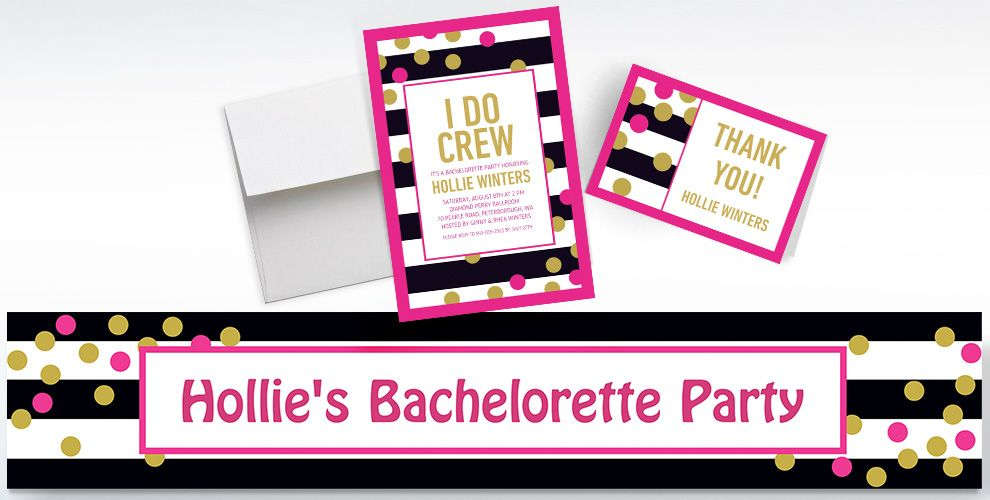 Custom Pink and Gold Confetti Invitations, Thank You Notes and Banners