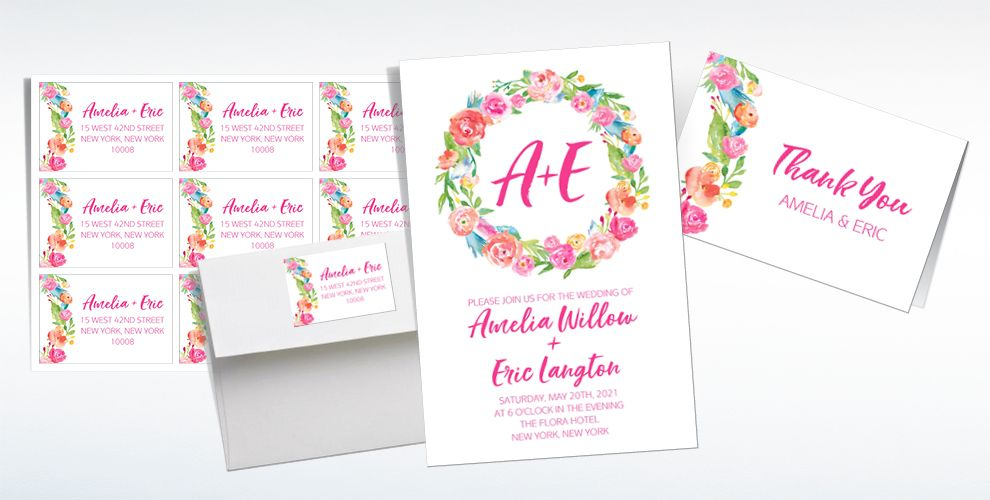 Custom Watercolor Wreath Wedding Invitations & Thank You Notes