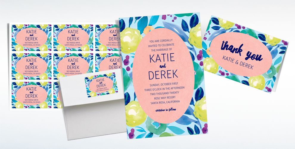 Custom Spring Floral Wedding Invitations, Thank You Notes & Banners