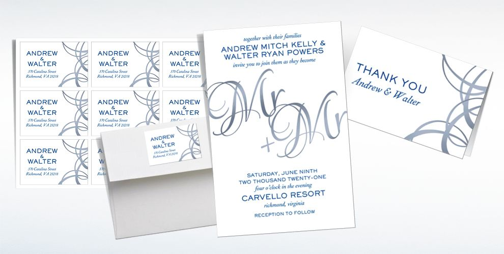 Custom Mr. & Mr. Wedding Invitations & Thank You Notes