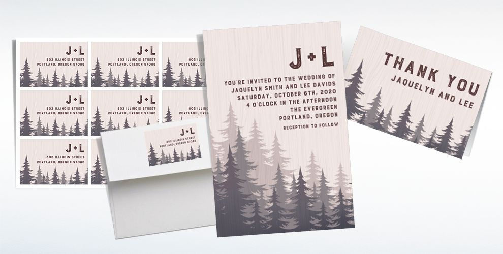 Custom Forest Wedding Invitations & Thank You Notes