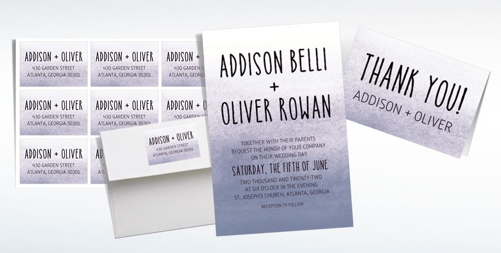 Custom Silver Watercolor Ombre Wedding Invitations & Thank You Notes