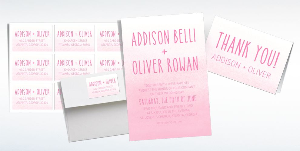 Custom Blush Watercolor Ombre Wedding Invitations & Thank You Notes