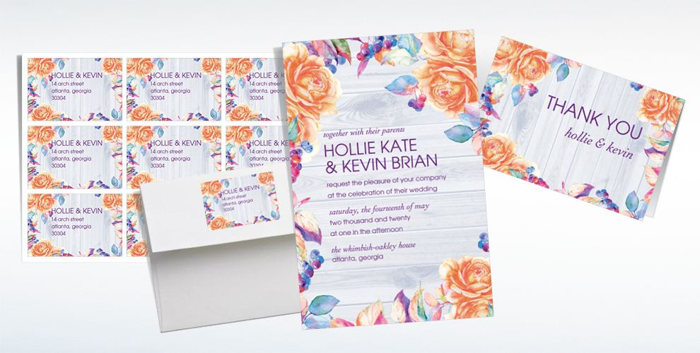 Custom Wood & Floral Wedding Invitations & Thank You Notes