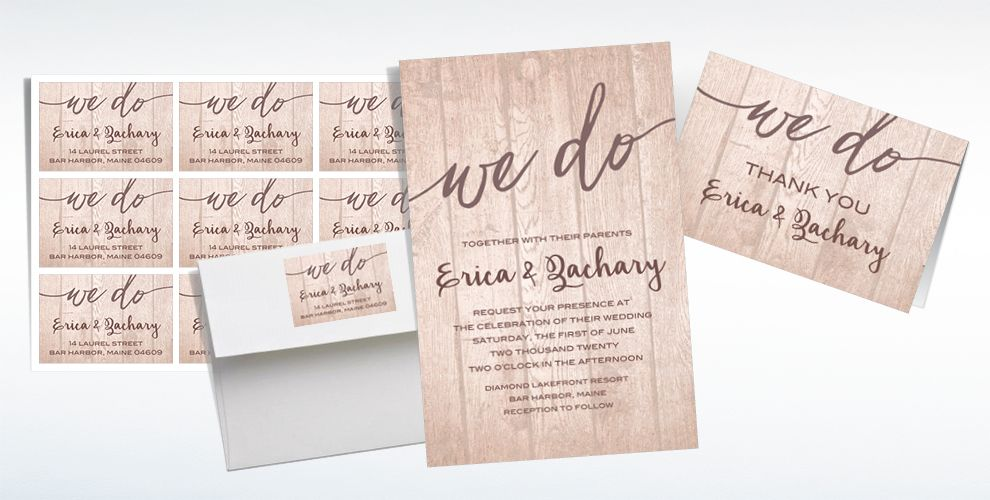 Custom Whimsical Wood Wedding Invitations & Thank You Notes | Party City