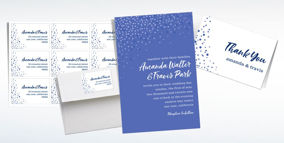 Custom Blue Champagne Bubbles Wedding Invitations, Thank You Notes & Banners