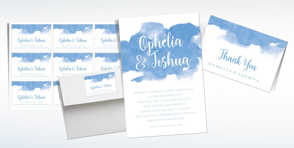 Custom Blue Watercolor Cloud Wedding Invitations, Thank You Notes & Banners