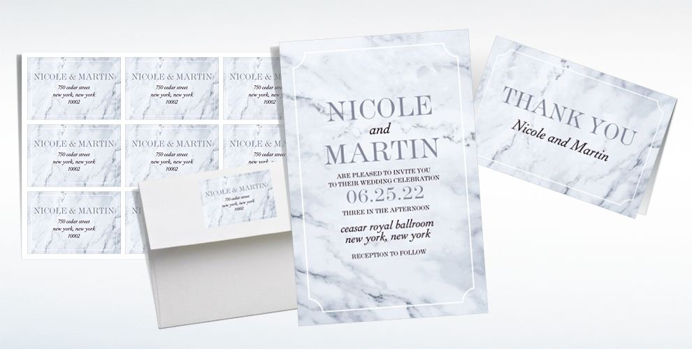 Custom Marble Wedding Invitations & Thank You Notes