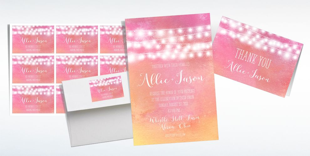 Custom Sunset Patio Lights Wedding Invitations & Thank You Notes