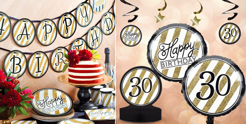 White and Gold Striped 30th Birthday Party Supplies