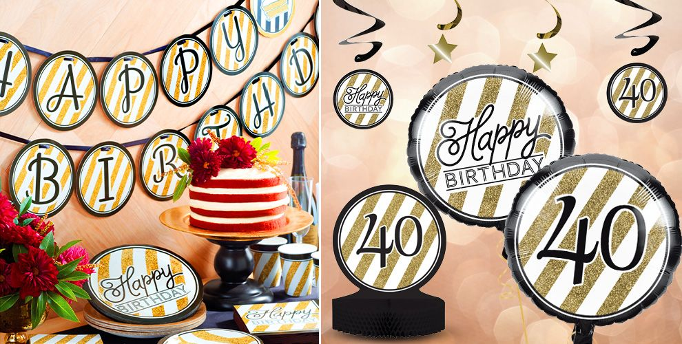 White and Gold Striped 40th Birthday Party Supplies