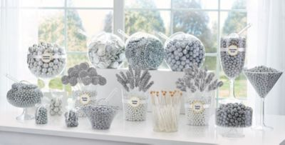 silver candy buffet supplies silver candy containers party city rh partycity com white candy buffet table white candy buffet images