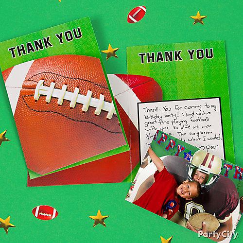 Football Thank You Note Idea