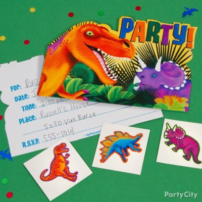 Prehistoric Dinosaur Invite with Surprise Idea Invitation Thank