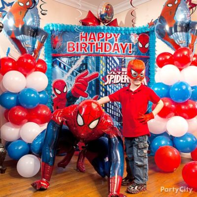 Spider Man Balloon Column Idea Decorating Ideas Spider Man Party