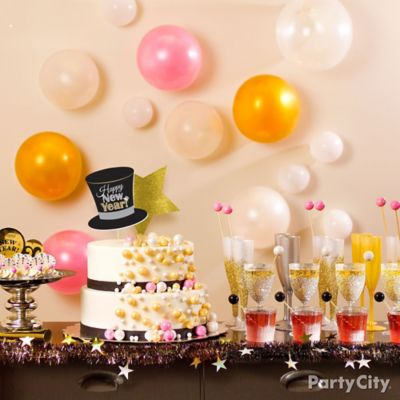 NYE Bubble Theme Champagne Table Party City Party City