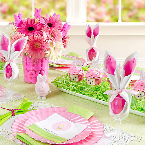 Pink and Green Easter Tablescape Idea