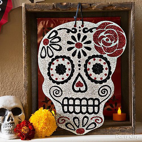 Day of the Dead Glitter Sugar Skull & Frame Idea