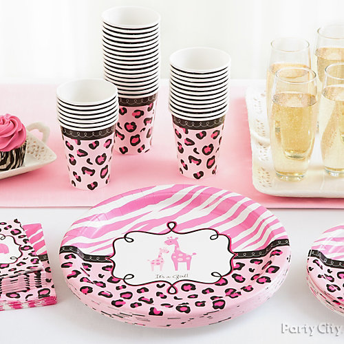 Pink Safari Baby Shower Place Settings Idea