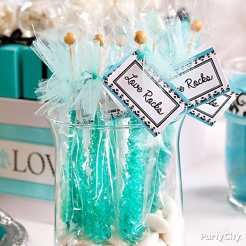 Personalized Rock Candy Favors Idea Robins Egg Blue Buffet