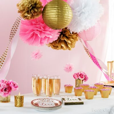 Pink and Gold Bridal Shower Decorations Idea Party City Party City
