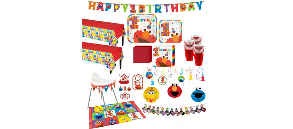 Elmo 1st birthday party supplies party city 1st birthday elmo deluxe party kit for 32 guests filmwisefo Choice Image