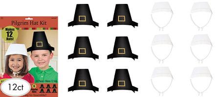 Pilgrim costumes pilgrim hats thanksgiving costumes party city pilgrim hat craft kit for 12 solutioingenieria Images