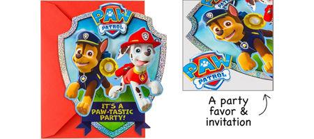 Premium Prismatic PAW Patrol Invitations With Badges 8ct