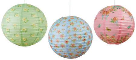Floral tea party supplies pastel floral tableware party city floral tea party paper lanterns 3ct mightylinksfo