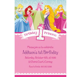 Custom disney princess 1st birthday invitations party city custom disney princess 1st birthday invitations filmwisefo Images