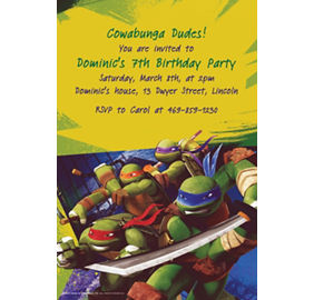 Custom teenage mutant ninja turtles invitations party city custom teenage mutant ninja turtles invitations stopboris Image collections