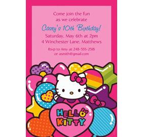 Custom hello kitty rainbow photo invitations party city custom hello kitty rainbow invitations filmwisefo