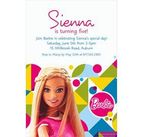 barbie sparkle photo invitation party city