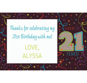 Brilliant 21st birthday party supplies decorations 21st birthday custom brilliant 21st birthday thank you note stopboris Image collections