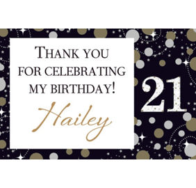 Custom pink sparkling celebration 21st birthday banners invitations custom sparkling celebration 21 thank you note stopboris Image collections