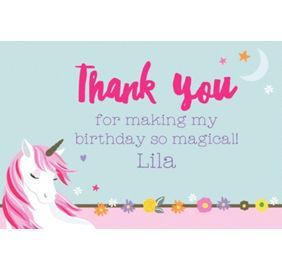Custom magical unicorn invitations thank you notes banners custom magical unicorn thank you note stopboris Image collections