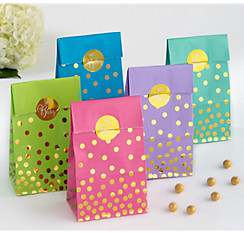 Gender Neutral Gold Polka Dot Baby Shower Treat Bags 20ct