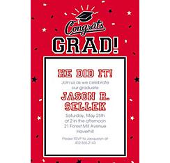 Custom graduation invitations party city custom school colors pride red invitation filmwisefo