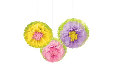 Pink purple paper flower decorations 5ct party city spring flower fluffy decorations 3ct mightylinksfo