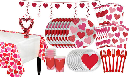 Key to Your Heart Valentine's Day Tableware Kit for 16 Guests