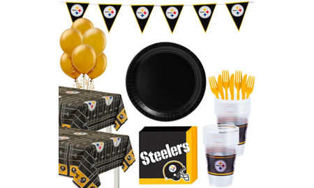 Nfl pittsburgh steelers party supplies party city pittsburgh steelers deluxe party kit for 36 guests filmwisefo Gallery